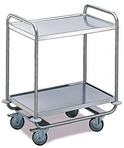 Tischwagen ROLLCART, mit umlaufendem Rohrrahmen - 2 Etagen