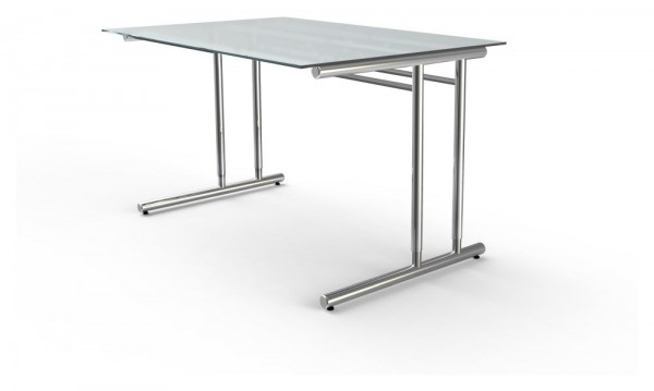 Schreibtisch mit Glasplatte TOLEDO, höhenverstellbar