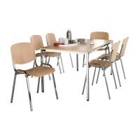 Komplettset ISO Wood, 6 Stapelstühle & Tisch