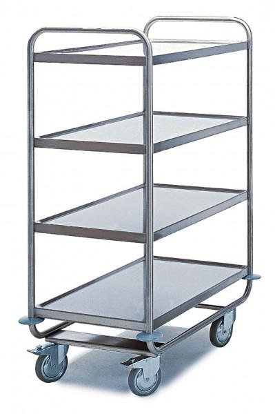 Tischwagen ROLLCART, mit umlaufendem Rohrrahmen - 4 Etagen