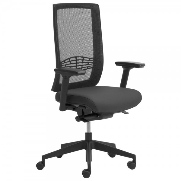 Bürostuhl Leyform WIKI, mit Armlehnen/Netzrücken/Kunststoff